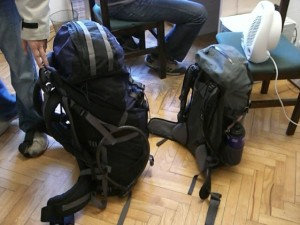80 liter travel backpack vs. a 20 liter ultralight backpack.