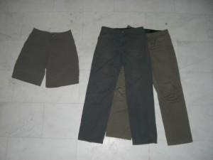Travel pants and shorts.