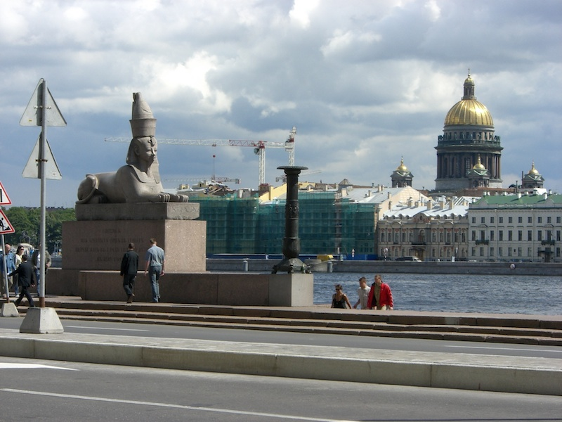 Looking over the river to St. Isaac's Cathedral.