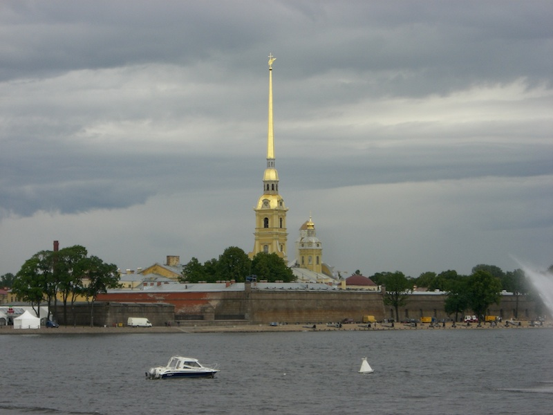 The spiky thing is St. Peter and Paul Cathedral.