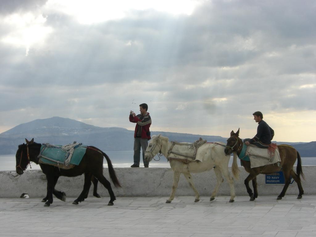 Friendly locals on Santorini, Greece.