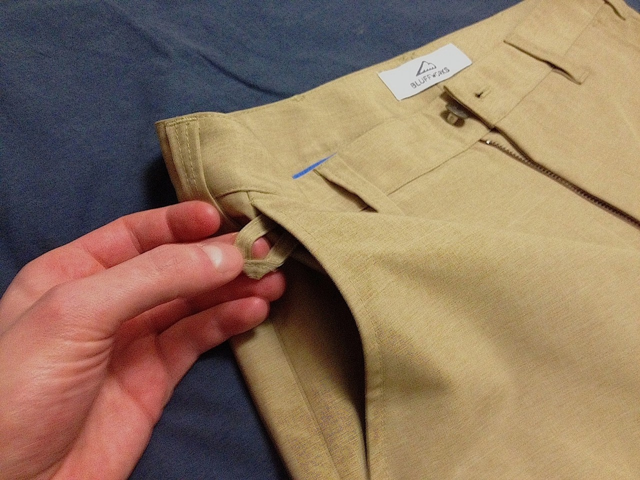 Bluffworks travel pants loop