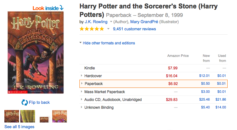 Harry Potter Kindle edition pricing weirdness
