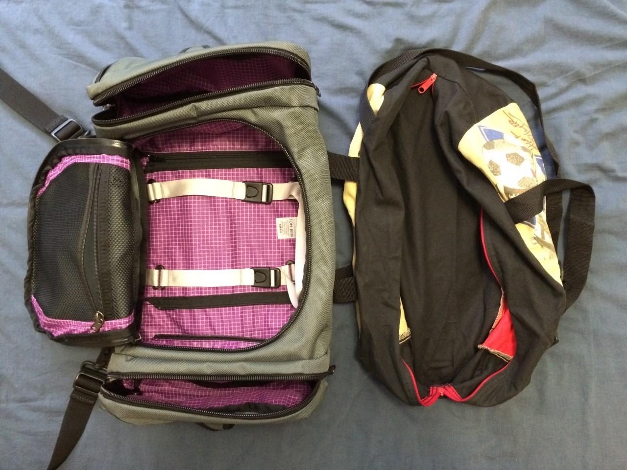 Duffel bags layout comparison