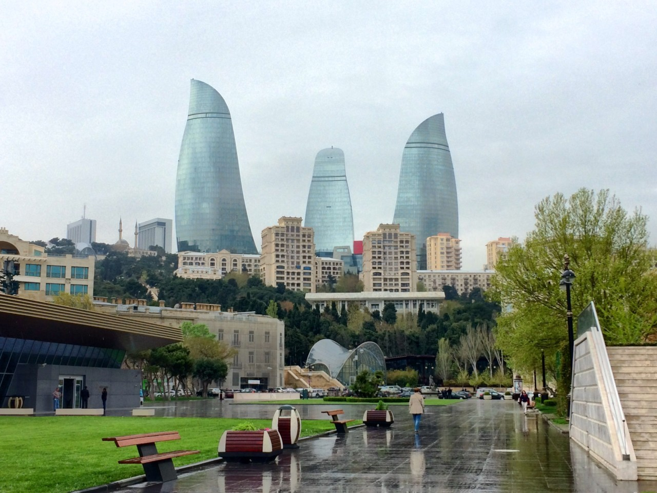 Flame Towers along the Boulevard