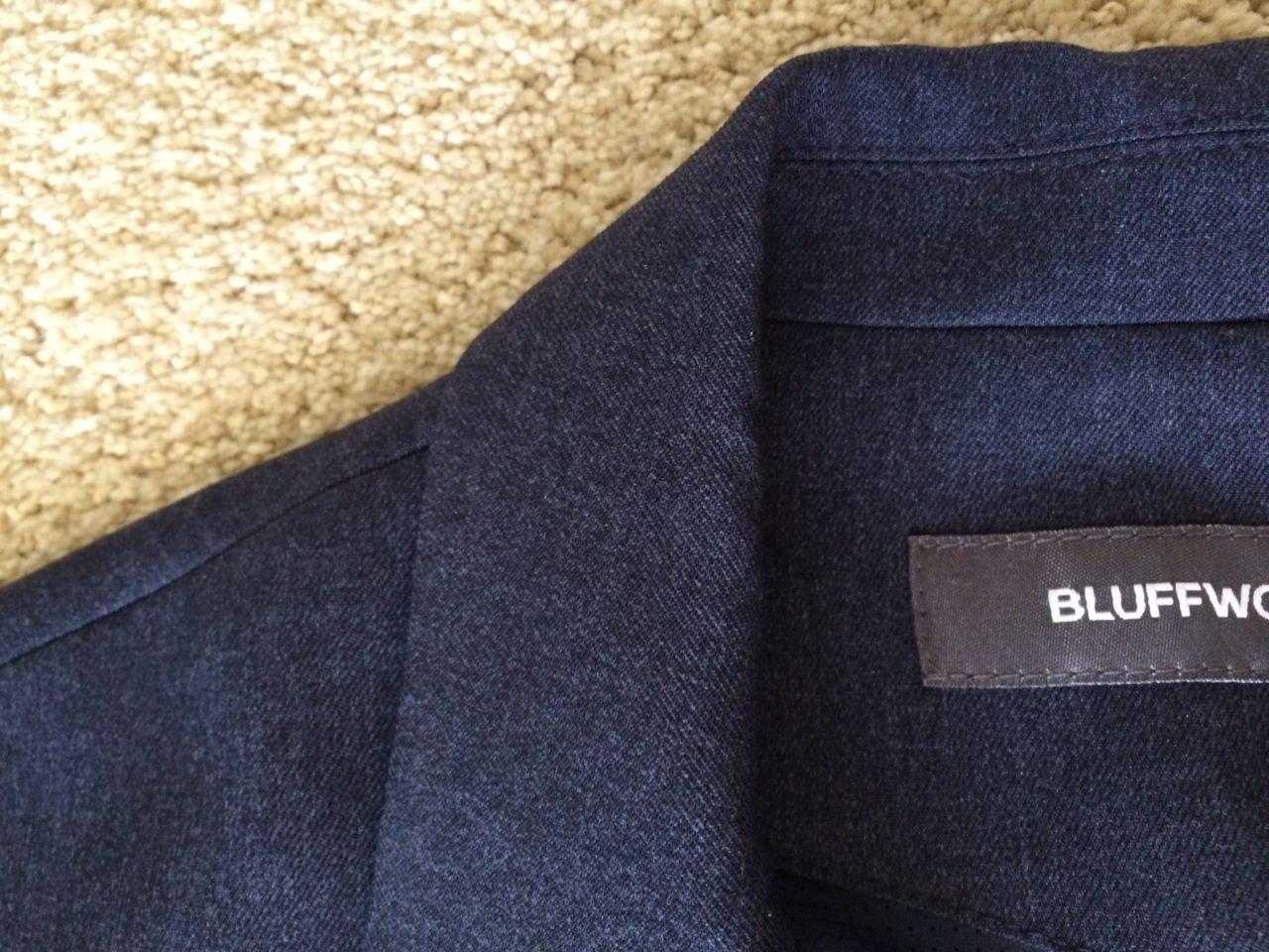 Bluffworks blazer collar close up