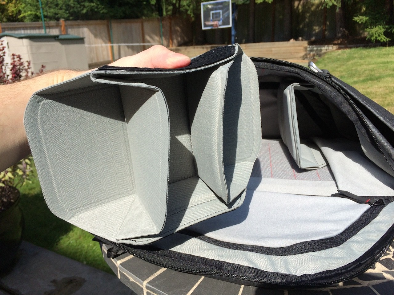 Peak Design Everyday Backpack folding divider closeup