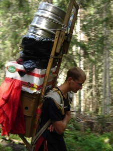 Hauling supplies up the mountain to the bar.
