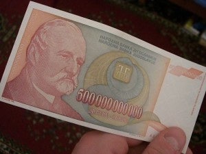 Serbian Dinar from the hyperinflation period in the 1990s.
