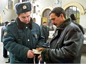 Passport check in Russia.