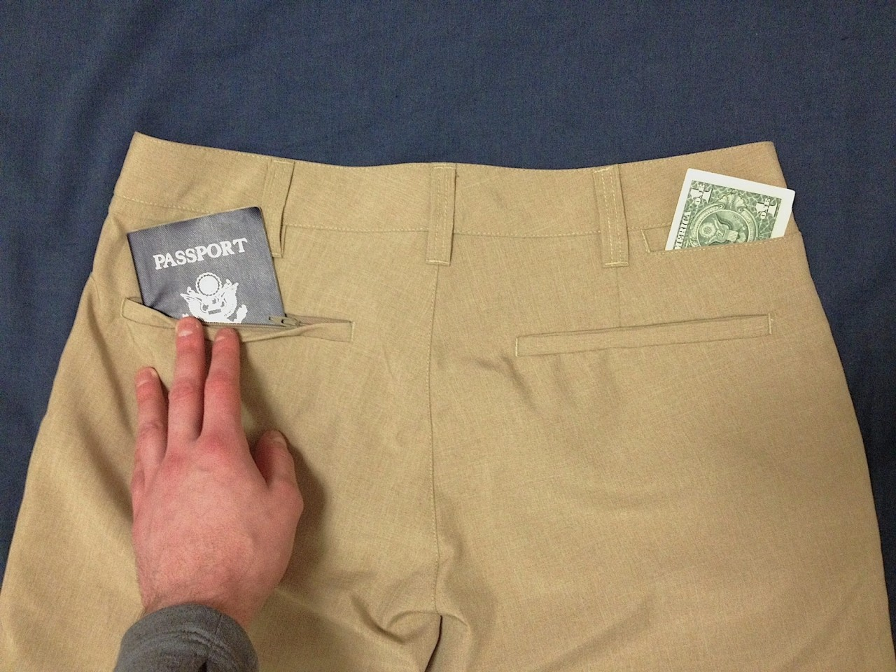 Bluffworks travel pants back pockets