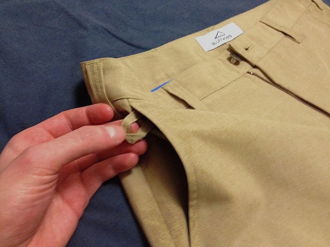 Bluffworks travel pants loop