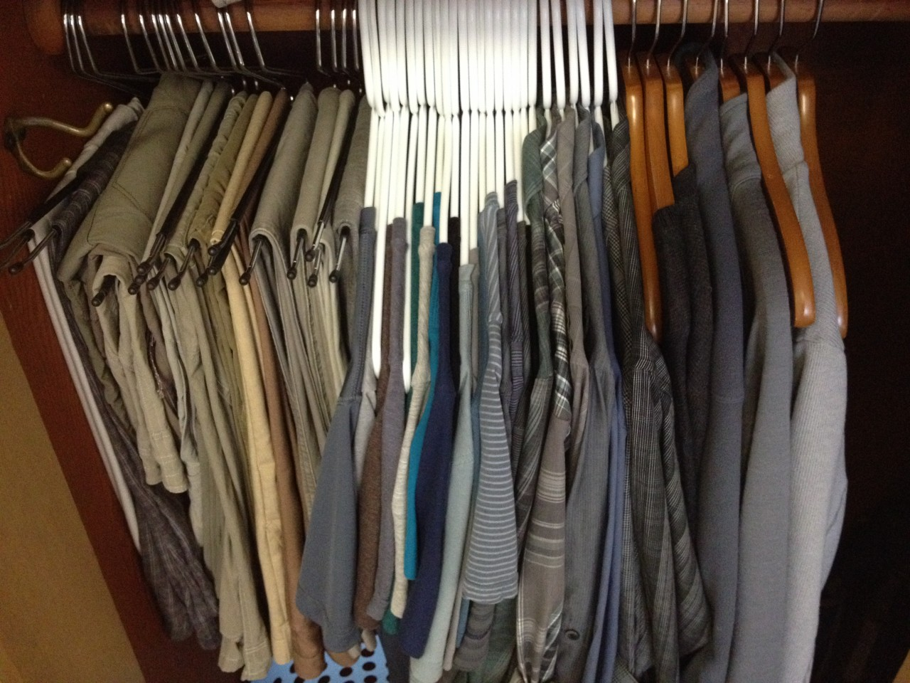 Color-coordinated minimalist wardrobe