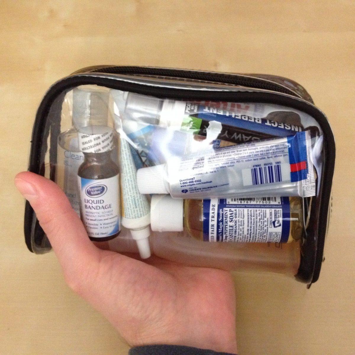 Liquid toiletries in transparent bag