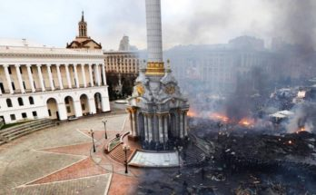 Maidan before and after 2014 protests, Kiev, Ukraine