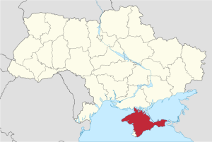 Map of Ukraine, Crimea highlighted