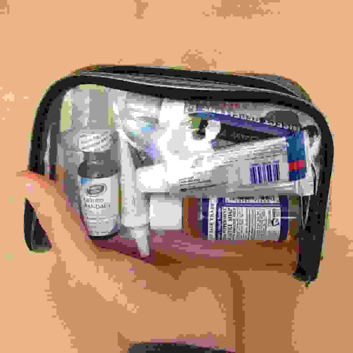 Liquid toiletries in transparent bag