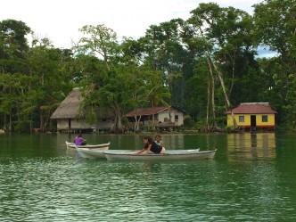 Canoeing along Lake Izabal