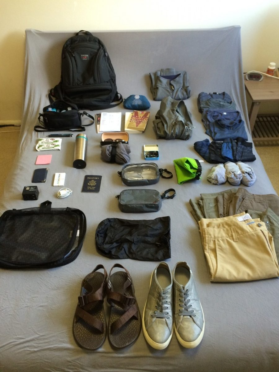 Central America packing list, unpacked