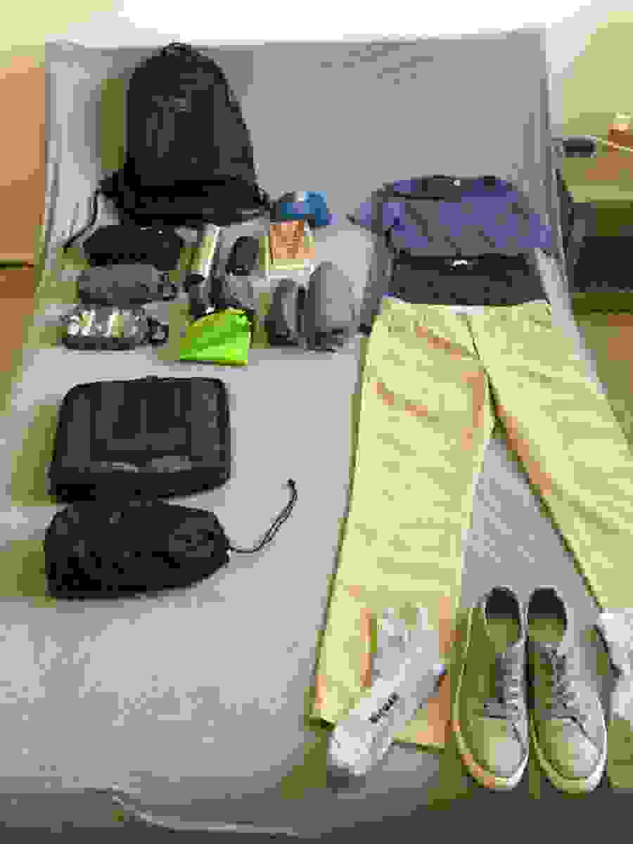 Central America packing list, partially packed
