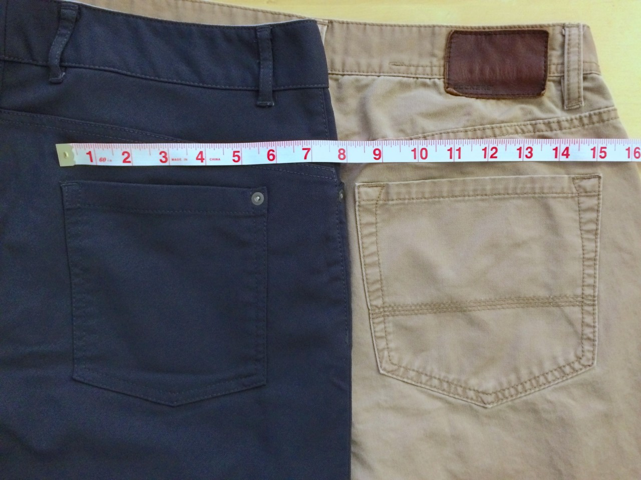 Slim Dungarees back pocket size comparison