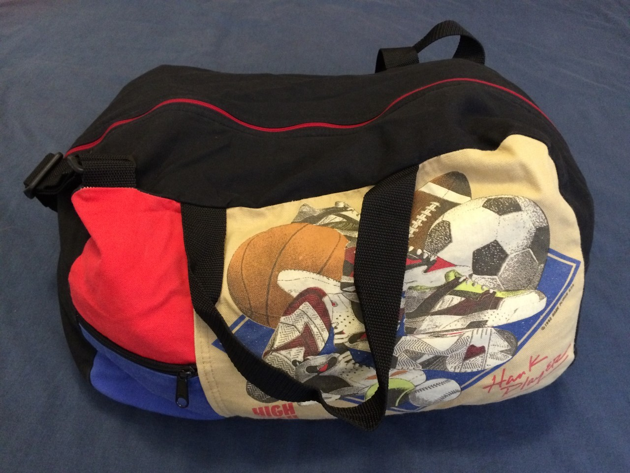 Beat up old duffel bag