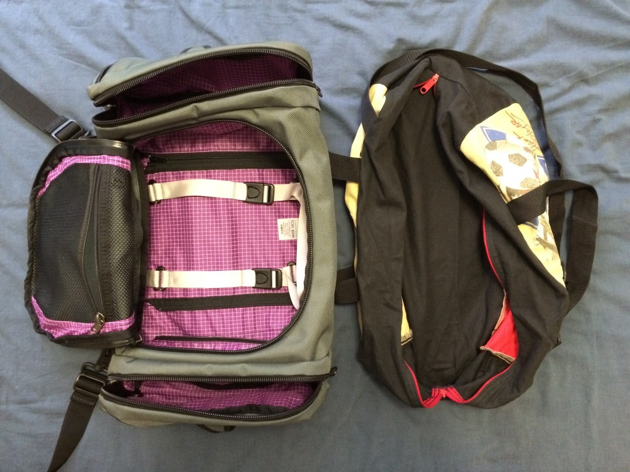 Duffel bags layout comparison