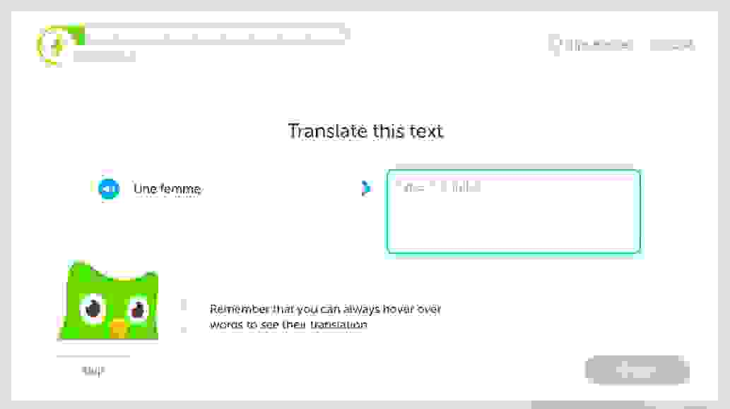 Duolingo exercise, French to English