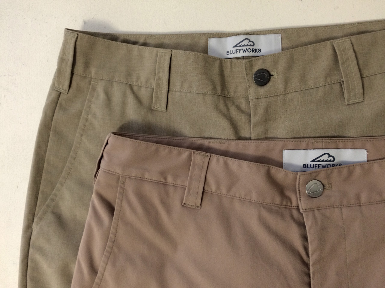 Bluffworks Chino vs Original Fabric