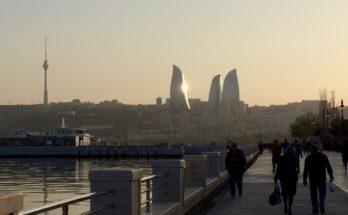 Baku Boulevard and Flame Towers