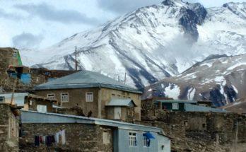 Khinalug mountain backdrop