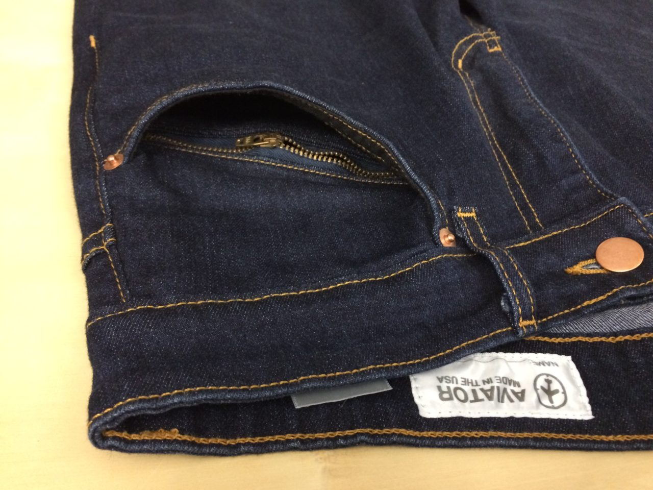 Aviator USA Jeans front hidden pocket alternate view
