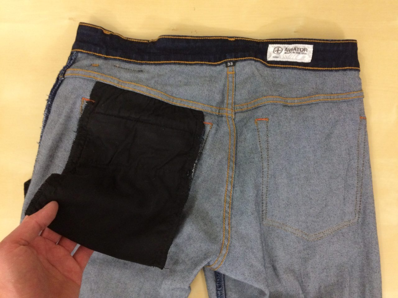 Aviator USA Jeans hidden pocket interior