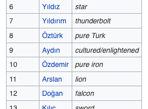 Top 20 Turkish Surnames
