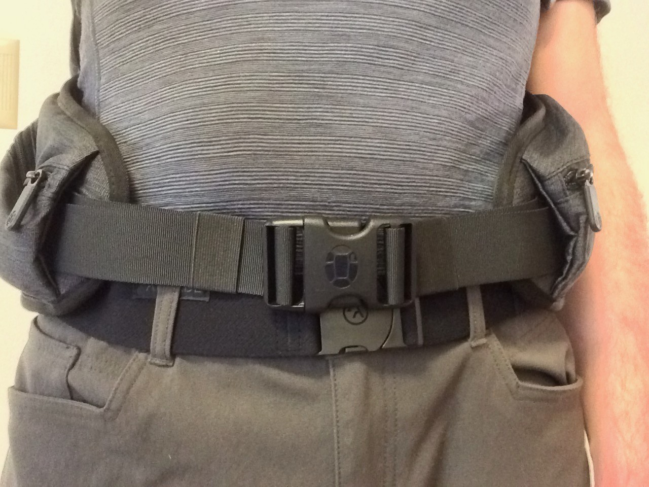 Arcade Belt worn with backpack